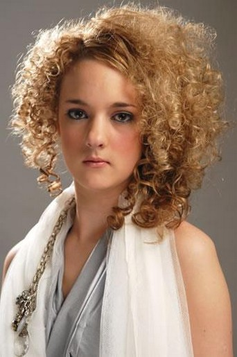 Blonde Medium Length Curly Hairstyle