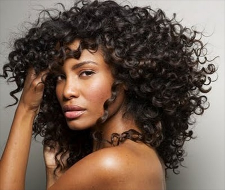 Long Black Curly Hair Style