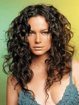 Long Brown Center Part Curly Hair Style