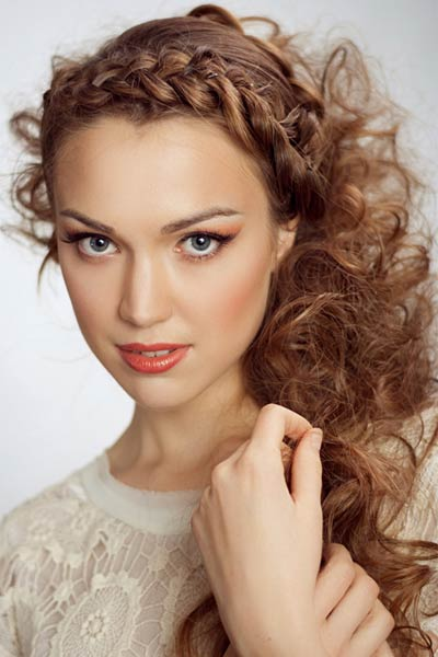 Crown French Braid Half Up Half Down Curly Hair Style