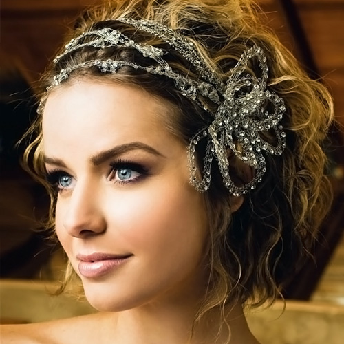 Crystal Headband Tamed Updo Curly Hair Style