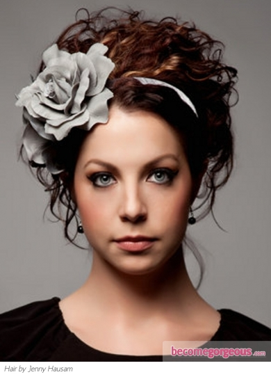 Curly Hair Style Updo with Flower Headband