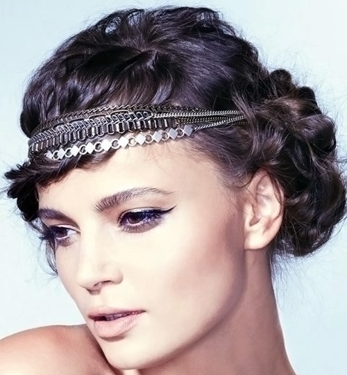 Headband Curly Hair Style Updo