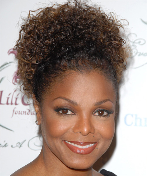 Janet Jackson Curly Hair Style Updo