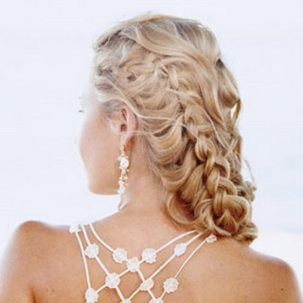 Curly Hair Style Side Braid