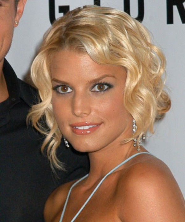 Jessica Simpson Curly Hair Style Updo
